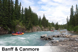 Whitewater river rafting trips on the Bow River Horseshoe Canyon and Kananaskis River near Banff and Canmore