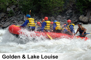 Whitewater river rafting trips on the Kicking Horse River near Golden and Lake Louise