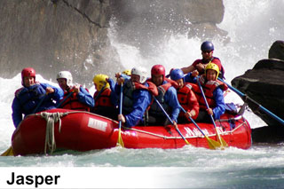 Whitewater river rafting trips on the Athabasca, Sunwapta and Fraser rivers near Jasper National Park