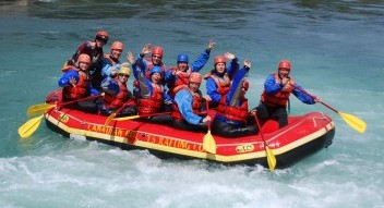 Whitewater river rafting in the Canadian Rockies near Banff National Park