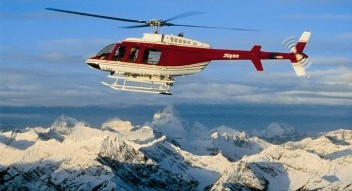 Helicopter sightseeing near Banff National Park