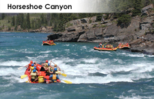 Horseshoe Canyon river rafting in the Canadian Rockies